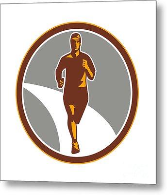 Marathon Runner Front Circle Retro Metal Print by Aloysius Patrimonio