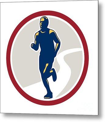 Marathon Runner Running Circle Retro Metal Print by Aloysius Patrimonio