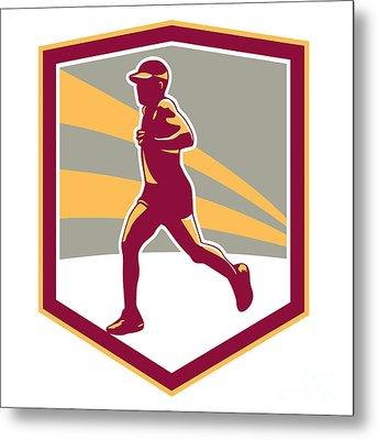 Marathon Runner Shield Retro Metal Print by Aloysius Patrimonio
