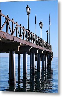 Metal Print featuring the photograph Marbella Pier Spain by Clare Bevan