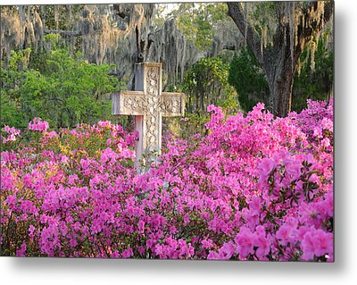 Metal Print featuring the photograph Marble Cross And Azaleas by Bradford Martin