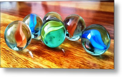 Marble Ducks Metal Print