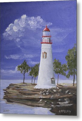 Marble Head Lighthouse Metal Print by Jerry McElroy