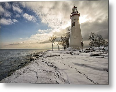 Marblehead In The Snow Metal Print by Laura James