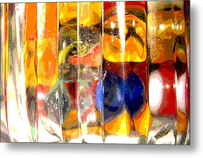 Metal Print featuring the photograph Marbles In A Glass Bowl by Mary Bedy