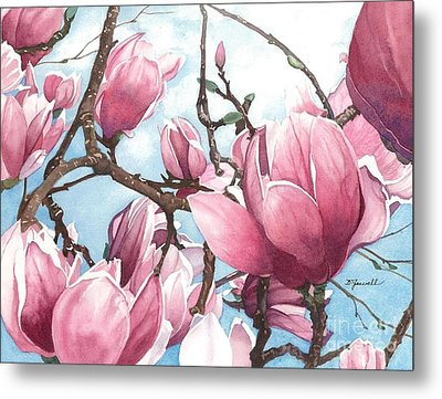 Metal Print featuring the painting March Magnolia by Barbara Jewell