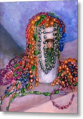 Metal Print featuring the painting Mardi Gras Beads In Louisiana by Lenora  De Lude
