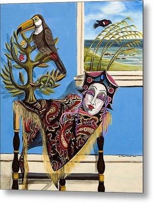 Mardi Gras In The Living Room Metal Print by Susan Culver