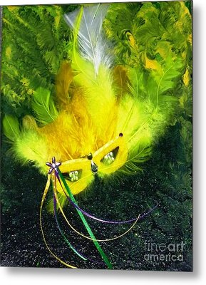 Metal Print featuring the painting Mardi Gras On Green by Alys Caviness-Gober