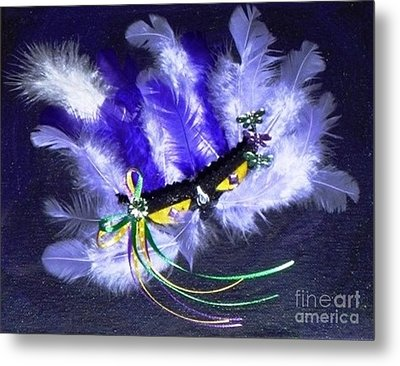 Metal Print featuring the painting Mardi Gras On Purple by Alys Caviness-Gober