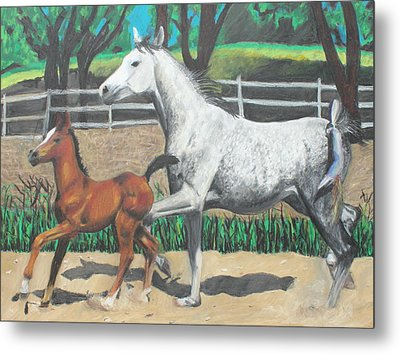 Metal Print featuring the painting Mare And Colt by Jeanne Fischer