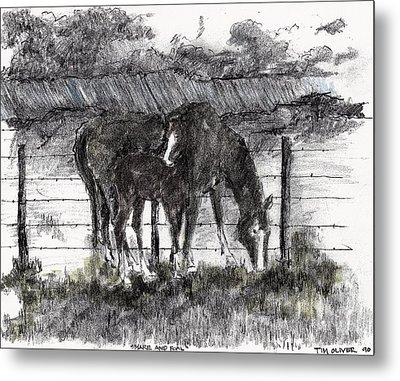 Metal Print featuring the mixed media Mare And Foal by Tim Oliver