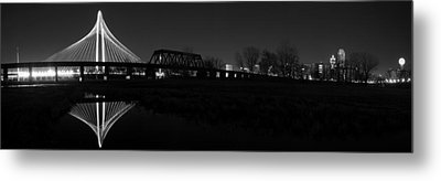 Margaret Hunt Hill Bridge Dallas Skyline Black And White Metal Print by Jonathan Davison