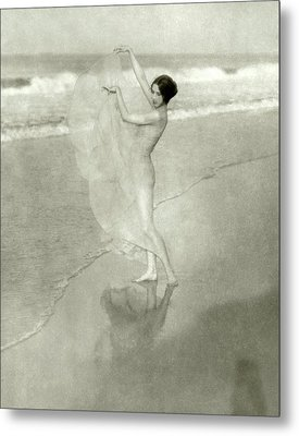 Margaret Severn On A Beach Metal Print by Arnold Genthe