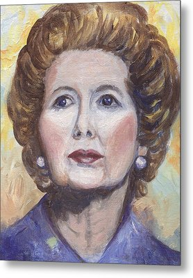 Margaret Thatcher Two Metal Print by Linda Mears