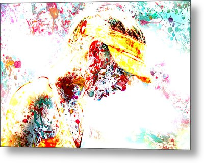 Maria Sharapova Paint Splatter 3p Metal Print by Brian Reaves