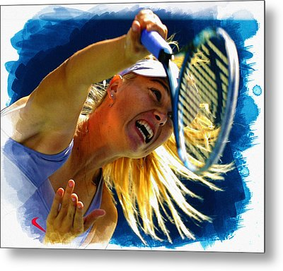 Maria Sharapova  In Action During The Women's Singles  Metal Print