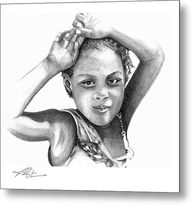 Metal Print featuring the drawing Mariane by Bob Salo