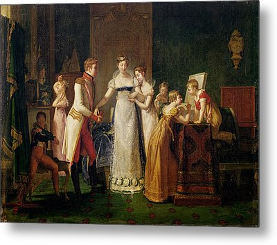 Marie-louise Of Austria Bidding Farewell To Her Family In Vienna Metal Print