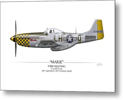 Marie P-51 Mustang - White Background Metal Print by Craig Tinder