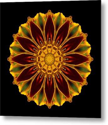 Marigold Flower Mandala Metal Print