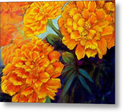 Metal Print featuring the pastel Marigolds In Bloom Pastel  Sold by Antonia Citrino