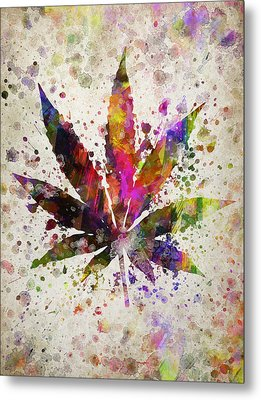 Marijuana Leaf In Color Metal Print by Aged Pixel