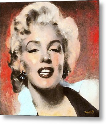 Marilyn In Retro Color Metal Print by Wayne Pascall