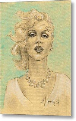 Marilyn In White Metal Print by P J Lewis