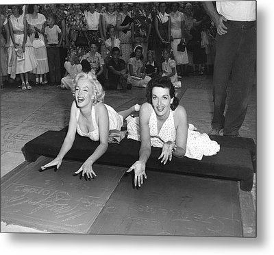 Marilyn Monroe And Jane Russell Metal Print by Underwood Archives