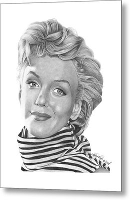 Metal Print featuring the drawing Marilyn Monroe - 029 by Abbey Noelle