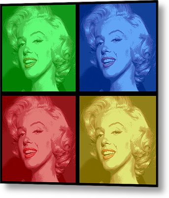 Marilyn Monroe Colored Frame Pop Art Metal Print by Daniel Hagerman