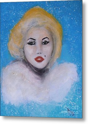 Metal Print featuring the painting Marilyn Monroe Out Of The Blue Into The White by Donna Dixon