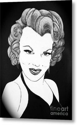 Marilyn Monroe- Scratch Bd Metal Print by Linda Simon