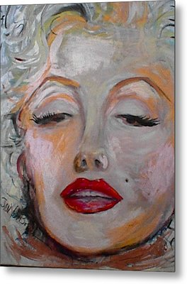Marilyn With The Red Lips Metal Print