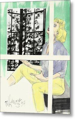 Marilyn's Two Windows Metal Print by P J Lewis