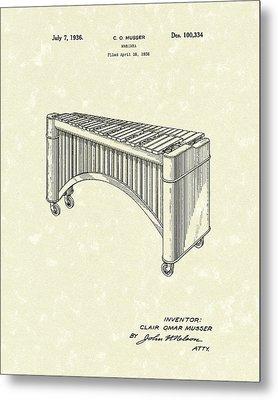 Marimba 1936 Patent Art Metal Print by Prior Art Design