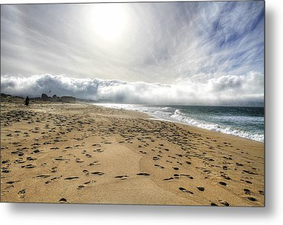 Marina Beach Walk Metal Print