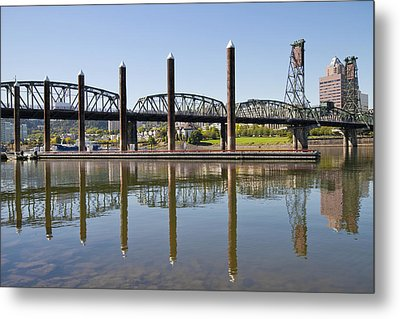 Metal Print featuring the photograph Marina By Willamette River In Portland Oregon by JPLDesigns