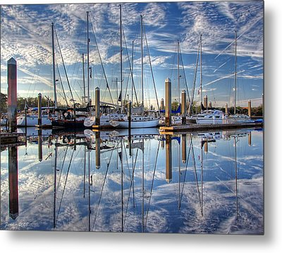 Marina Morning Reflections Metal Print