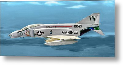Marine F-4 Phantom  Painting Metal Print
