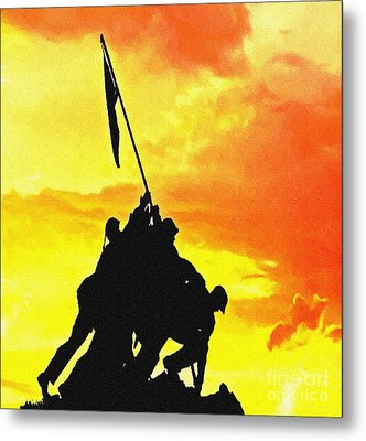 Marine Iwo Jima Memorial Dc Metal Print by Bob and Nadine Johnston