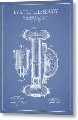 Marine Lifebuoy Patent From 1894 - Light Blue Metal Print by Aged Pixel