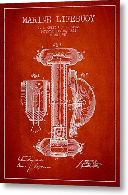 Marine Lifebuoy Patent From 1894 - Red Metal Print by Aged Pixel