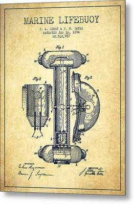 Marine Lifebuoy Patent From 1894 - Vintage Metal Print by Aged Pixel