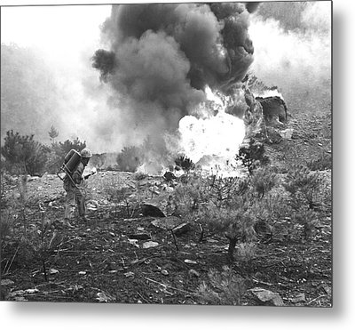 Marine With Flamethrower Metal Print by Underwood Archives