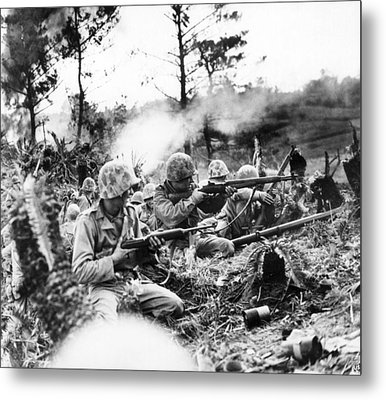 Marines In Okinawa Metal Print by Underwood Archives