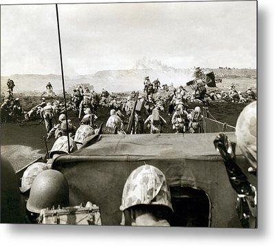 Marines Landing On Iwo Jima Metal Print by Underwood Archives