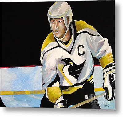 Mario Lemieux The Penguin That Saved Pittsburgh Metal Print by Philip Kram