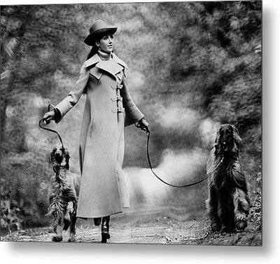 Marisa Berenson Walking Two Dogs Metal Print